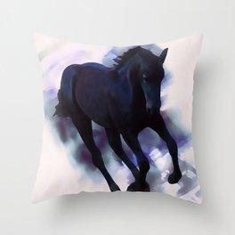 A Friesian foal's morning joy Throw Pillow