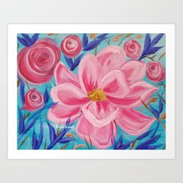 Pink and Wild, Pink Lily, Pink Flower, Pink and Blue Floral Art Art Print