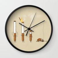 smoking Wall Clocks featuring Smoking Kills by Terry Fan