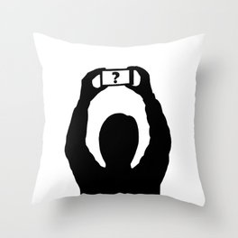 Man with mobile phone Throw Pillow