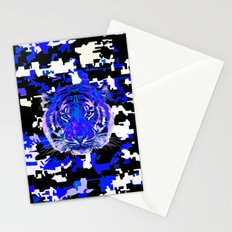 camouflage tiger on blue Stationery Cards