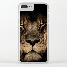 Lion Face Closeup Clear iPhone Case