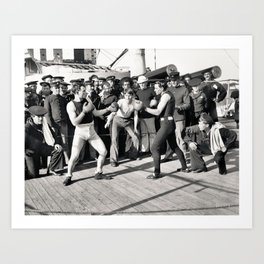Boxing on a Naval Ship, 1899 Art Print