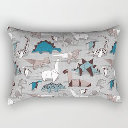 Origami dino friends // grey linen texture blue dinosaurs Rectangular Pillow