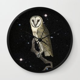Owl in the Universe Wall Clock