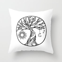 black and white tree of life with hanging sun, moon and stars I Throw Pillow