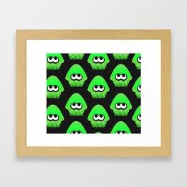 Splatoon Squid Pattern Green Framed Art Print