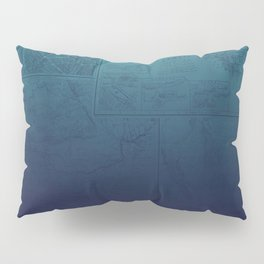 Blue Ombre Map Pillow Sham