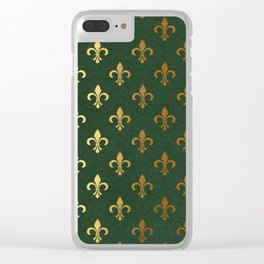 Green and Metallic Gold Fleur-de-lis Clear iPhone Case