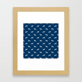 Greyhound blue and white minimal dog silhouette dog breed pattern Framed Art Print