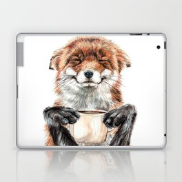 """ Morning fox "" Red fox with her morning coffee Laptop & iPad Skin"