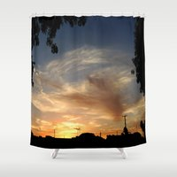 frame Shower Curtains featuring urban frame by Jorgenson Art Syndicate