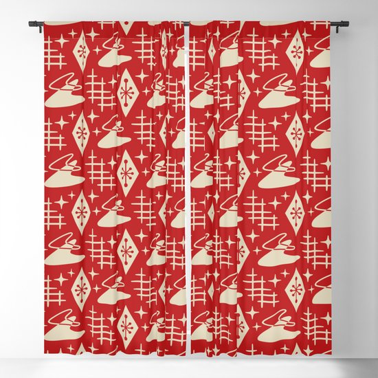 Mid Century Modern Boomerang Abstract Pattern Red and Tan 261 by tonymagner