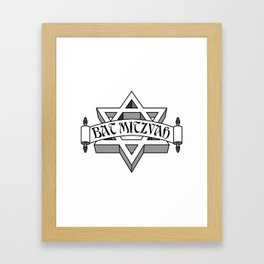 Bat Mitzvah with silver scroll &  Star of David  Framed Art Print