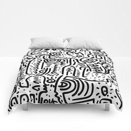 Street Art Graffiti Love Black and White Comforters