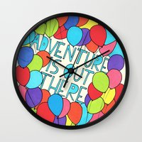 adventure is out there Wall Clocks featuring Adventure by Prince Arora