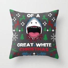 White Christmas Shark Ugly Cardigan Gift Throw Pillow