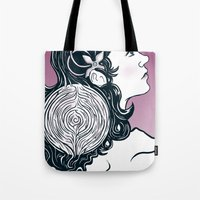 labyrinth Tote Bags featuring Labyrinth by Yuri Meister