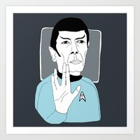 spock Art Prints featuring Spock by Elena Éper