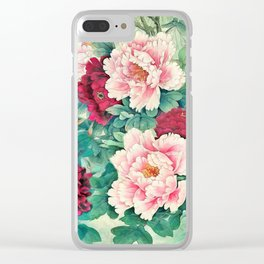 Light pink and purple peonies Clear iPhone Case