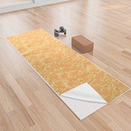 Orange Floral Pattern Yoga Towel