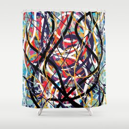 Abstract expressionist art in red blue and black Shower Curtain