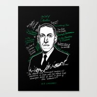 lovecraft Canvas Prints featuring H.P. Lovecraft by darkscrybe