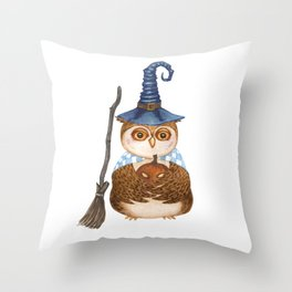 Owl in witch magical hat with broom stick and carved pumpkin lantern for Halloween Throw Pillow