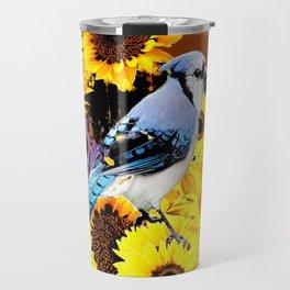 MODERN BLUE  JAY & COFFEE BROWN SUNFLOWERS Travel Mug