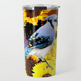 MODERN BLUE  JAY & COFFEE BROWN SUNFLOWERS Travel Mug