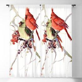 Cardinal Birds, birds art, two bird artwork cardinal bird Blackout Curtain