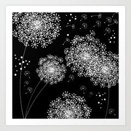 DANDELION SNOWFLAKE BLACK Art Print