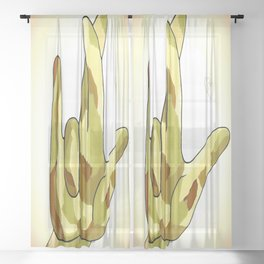 ASL I Really Love You Camouflage Sheer Curtain