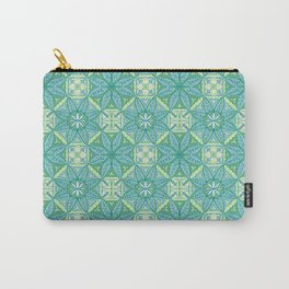 Green Lisbon Tile Geometric Print Carry-All Pouch