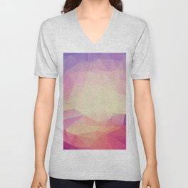 Shining Abstract Polygon Pattern Yellow, Purple, Pink, and Orange Unisex V-Neck