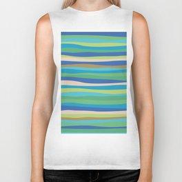 Blue Green Stripes Waves Biker Tank