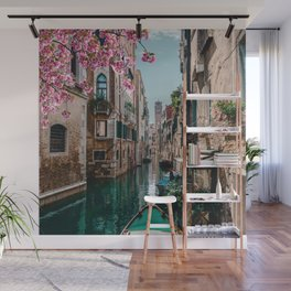 Spring Venice emerald canal with old building  Wall Mural