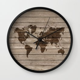 Rustic world map Wall Clock