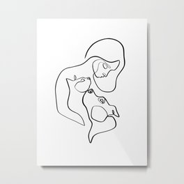 Cat and Dog with Woman, Minimalist Line Art in Black and White Metal Print