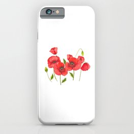 Watercolor red poppy flowers, poppies, Remembrance Day iPhone Case