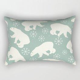 Polar Bears and Snowflakes Rectangular Pillow