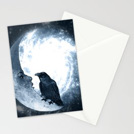 The crow and its Moon. (bcn art version) Stationery Cards