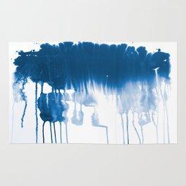 Paint 1 - indigo blue drip abstract painting modern minimal trendy home decor dorm college art Rug