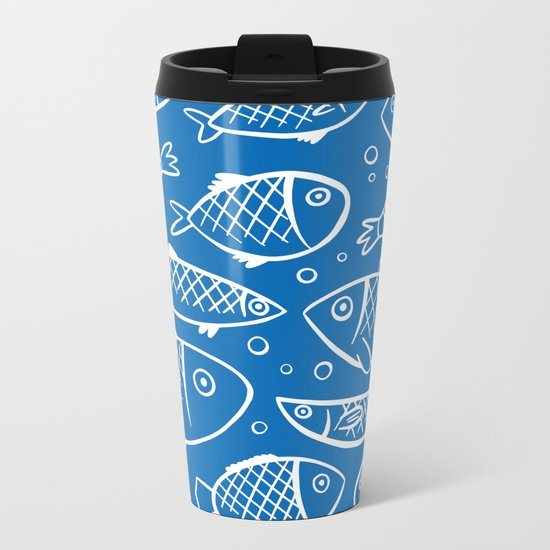 Fish blue white Metal Travel Mug
