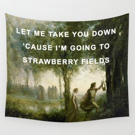 Orpheus Leading Eurydice to Strawberry Fields Wall Tapestry