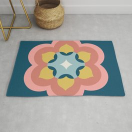 Modern Bloom in Navy and Pink Rug