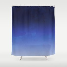 Modern navy blue watercolor ombre gradient fade Shower Curtain