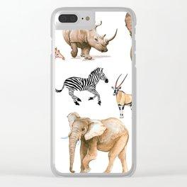 Safari watercolor animals Clear iPhone Case