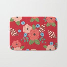 Flower Pattern, Pink Blue Flowers on Red, Vintage Floral Design Bath Mat