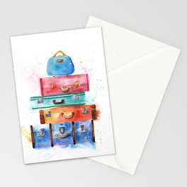 Watercolor Suitcases Illustration Art Stationery Cards